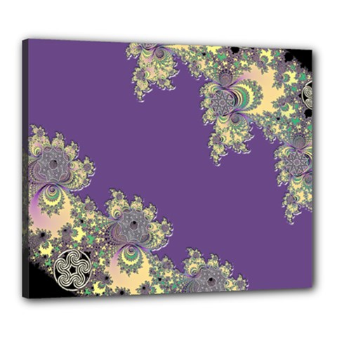 Purple Symbolic Fractal Canvas 24  X 20  (framed) by UROCKtheWorldDesign