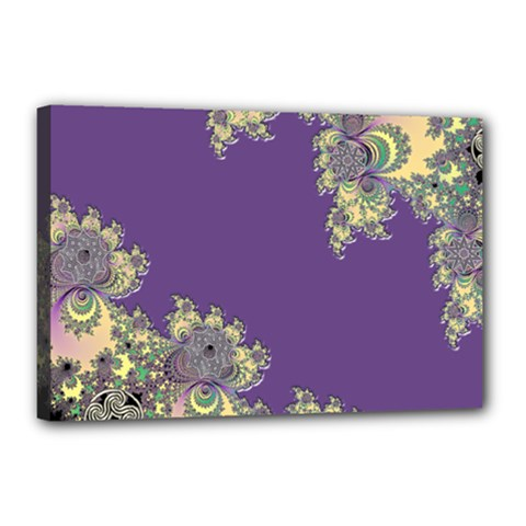 Purple Symbolic Fractal Canvas 18  X 12  (framed) by UROCKtheWorldDesign