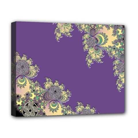 Purple Symbolic Fractal Deluxe Canvas 20  X 16  (framed) by UROCKtheWorldDesign