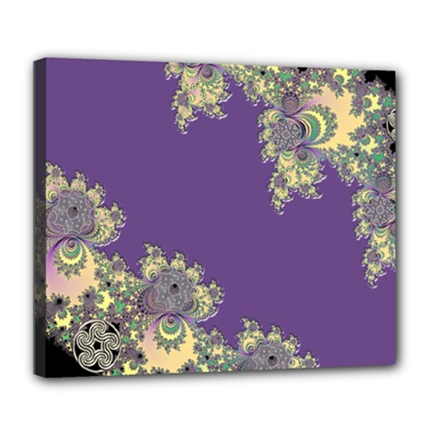Purple Symbolic Fractal Deluxe Canvas 24  X 20  (framed) by UROCKtheWorldDesign