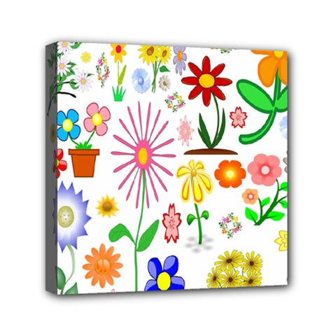 Summer Florals Mini Canvas 6  X 6  (framed) by StuffOrSomething