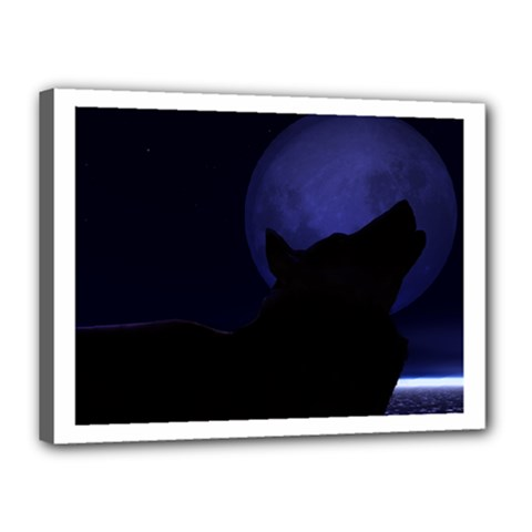 Howling Wolf Canvas 16  X 12  (framed)