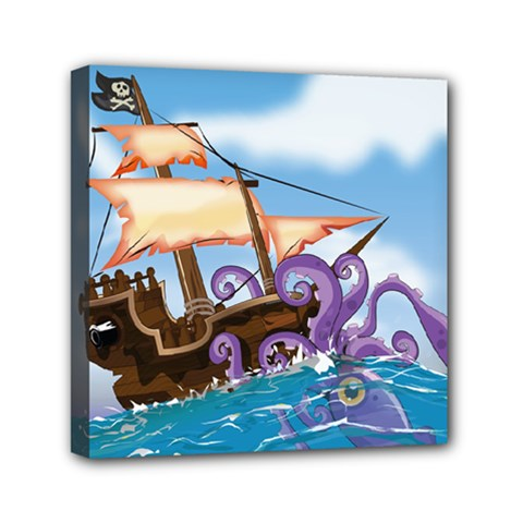 Piratepirate Ship Attacked By Giant Squid  Mini Canvas 6  X 6  (framed)