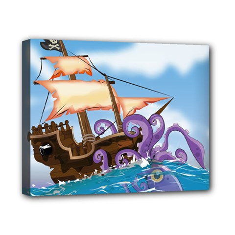 Pirate Ship Attacked By Giant Squid Cartoon  Canvas 10  X 8  (framed) by NickGreenaway
