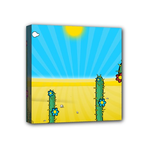 Cactus Mini Canvas 4  X 4  (framed) by NickGreenaway