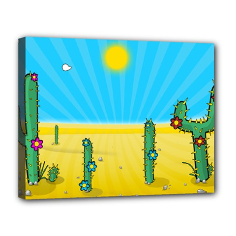 Cactus Canvas 14  X 11  (framed) by NickGreenaway