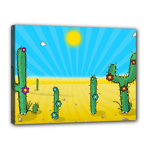 Cactus Canvas 16  X 12  (framed) by NickGreenaway