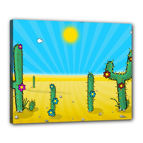 Cactus Canvas 20  X 16  (framed) by NickGreenaway