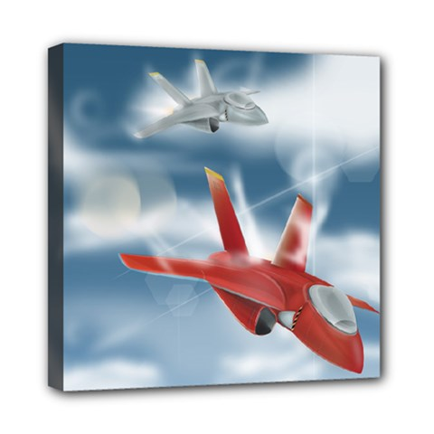 America Jet Fighter Air Force Mini Canvas 8  X 8  (framed) by NickGreenaway