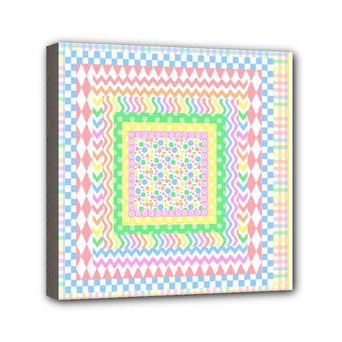 Layered Pastels Mini Canvas 6  X 6  (framed) by StuffOrSomething