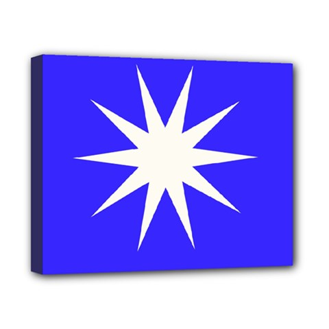 Deep Blue And White Star Canvas 10  X 8  (framed) by Colorfulart23