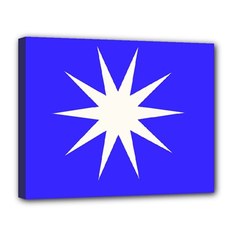 Deep Blue And White Star Canvas 14  X 11  (framed) by Colorfulart23