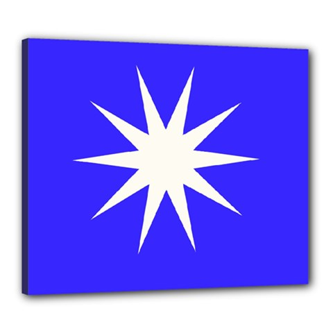 Deep Blue And White Star Canvas 24  X 20  (framed) by Colorfulart23