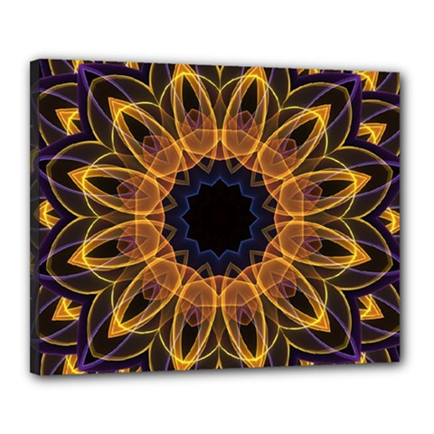 Yellow Purple Lotus Mandala Canvas 20  X 16  (framed) by Zandiepants