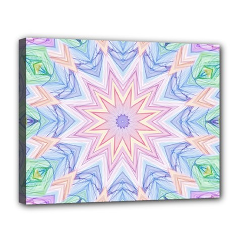 Soft Rainbow Star Mandala Canvas 14  X 11  (framed) by Zandiepants