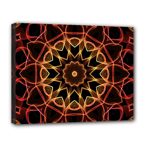 Yellow And Red Mandala Canvas 14  X 11  (framed) by Zandiepants