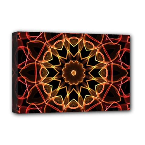 Yellow And Red Mandala Deluxe Canvas 18  X 12  (framed) by Zandiepants