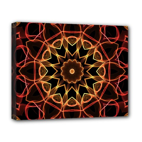 Yellow And Red Mandala Deluxe Canvas 20  X 16  (framed) by Zandiepants