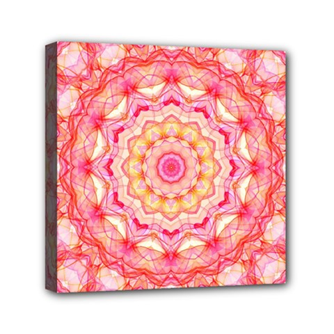 Yellow Pink Romance Mini Canvas 6  X 6  (framed) by Zandiepants