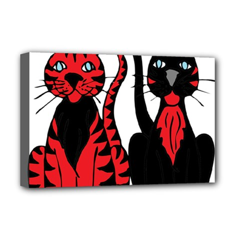 Cool Cats Deluxe Canvas 18  X 12  (framed) by StuffOrSomething
