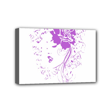 Purple Woman Of Chronic Pain Mini Canvas 6  X 4  (framed) by FunWithFibro
