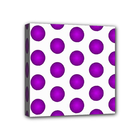 Purple And White Polka Dots Mini Canvas 4  X 4  (framed) by Colorfulart23