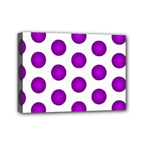 Purple And White Polka Dots Mini Canvas 7  X 5  (framed) by Colorfulart23