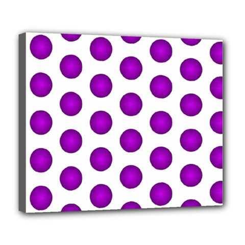 Purple And White Polka Dots Deluxe Canvas 24  X 20  (framed) by Colorfulart23