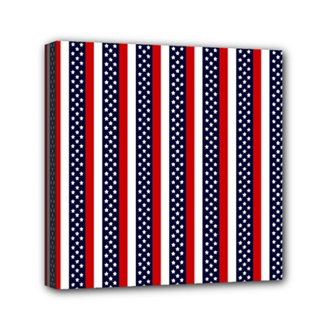 Patriot Stripes Mini Canvas 6  X 6  (framed) by StuffOrSomething