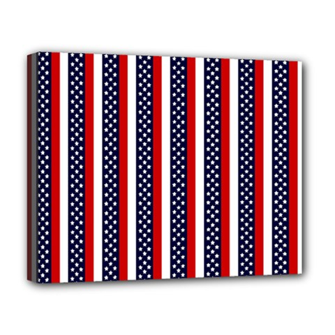 Patriot Stripes Deluxe Canvas 20  X 16  (framed) by StuffOrSomething