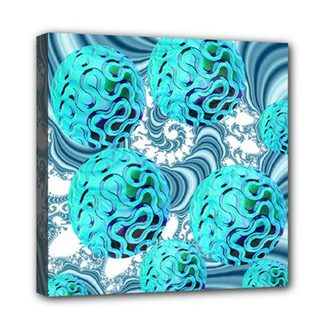 Teal Sea Forest, Abstract Underwater Ocean Mini Canvas 8  X 8  (framed) by DianeClancy