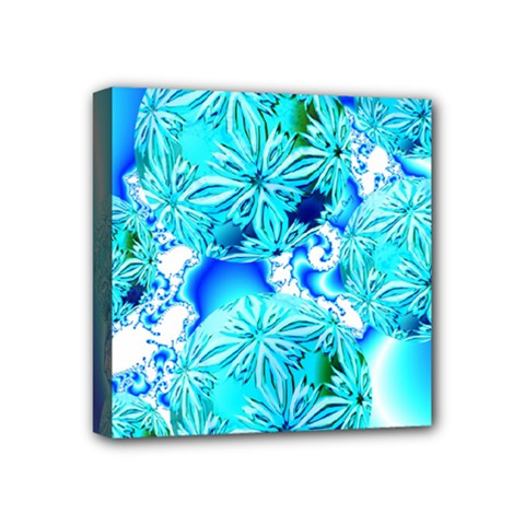 Blue Ice Crystals, Abstract Aqua Azure Cyan Mini Canvas 4  X 4  (stretched) by DianeClancy