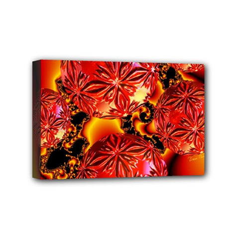 Flame Delights, Abstract Red Orange Mini Canvas 6  X 4  (framed) by DianeClancy