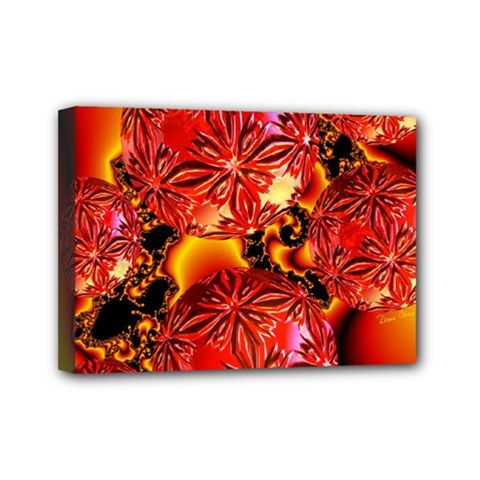 Flame Delights, Abstract Red Orange Mini Canvas 7  X 5  (framed) by DianeClancy