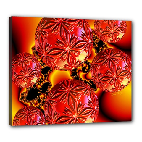 Flame Delights, Abstract Red Orange Canvas 24  X 20  (framed) by DianeClancy