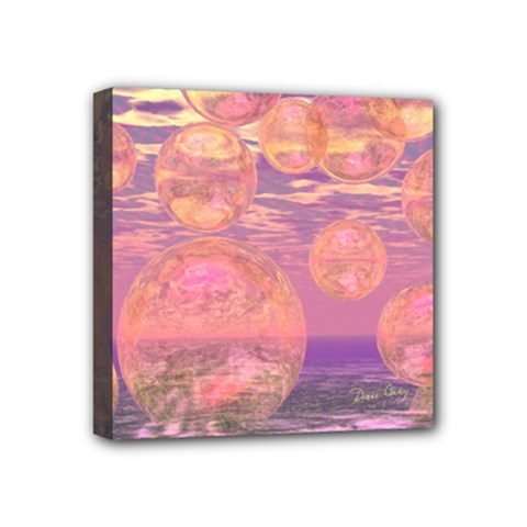 Glorious Skies, Abstract Pink And Yellow Dream Mini Canvas 4  X 4  (framed) by DianeClancy