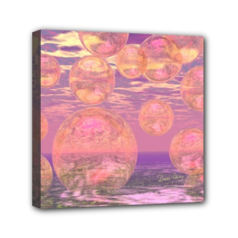 Glorious Skies, Abstract Pink And Yellow Dream Mini Canvas 6  X 6  (framed) by DianeClancy