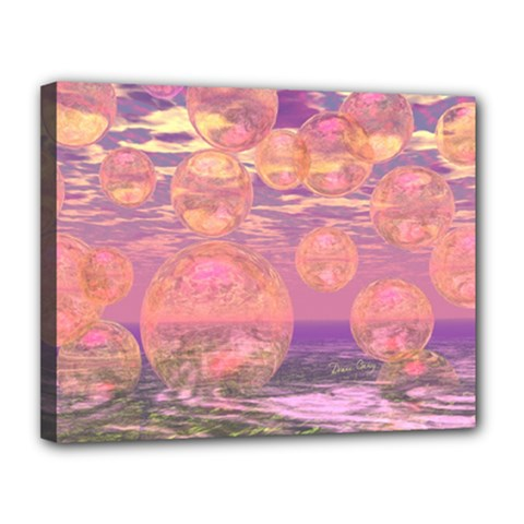 Glorious Skies, Abstract Pink And Yellow Dream Canvas 14  X 11  (framed) by DianeClancy