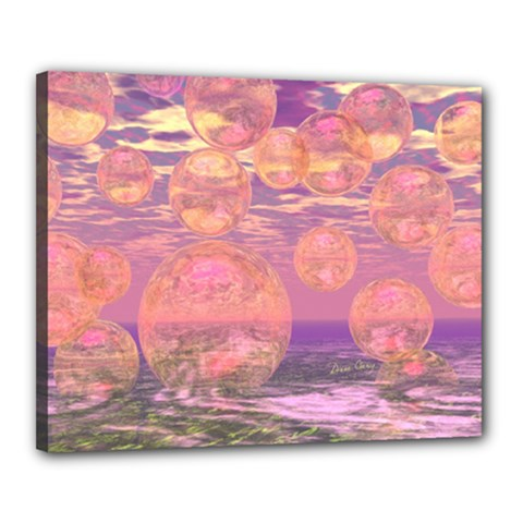 Glorious Skies, Abstract Pink And Yellow Dream Canvas 20  X 16  (framed) by DianeClancy