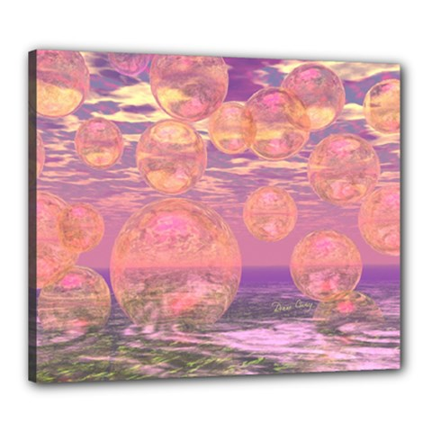 Glorious Skies, Abstract Pink And Yellow Dream Canvas 24  X 20  (framed) by DianeClancy