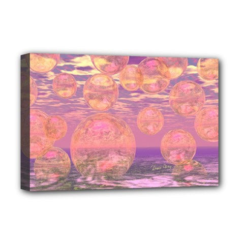 Glorious Skies, Abstract Pink And Yellow Dream Deluxe Canvas 18  X 12  (framed) by DianeClancy
