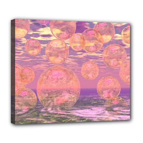 Glorious Skies, Abstract Pink And Yellow Dream Deluxe Canvas 24  X 20  (framed) by DianeClancy