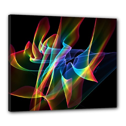 Aurora Ribbons, Abstract Rainbow Veils  Canvas 24  X 20  (framed) by DianeClancy