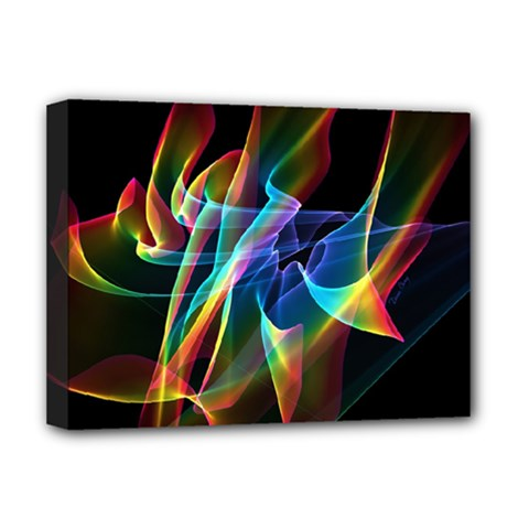 Aurora Ribbons, Abstract Rainbow Veils  Deluxe Canvas 16  X 12  (framed)  by DianeClancy