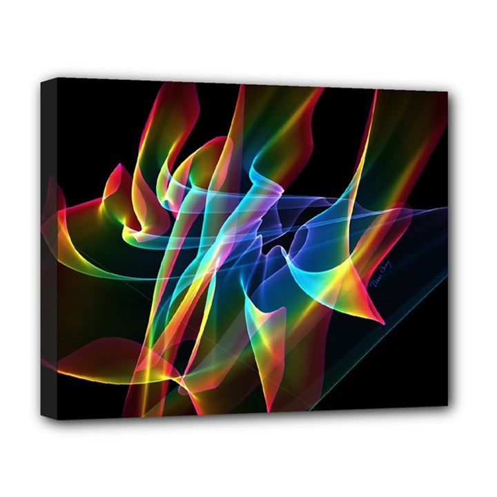 Aurora Ribbons, Abstract Rainbow Veils  Deluxe Canvas 20  x 16  (Framed)