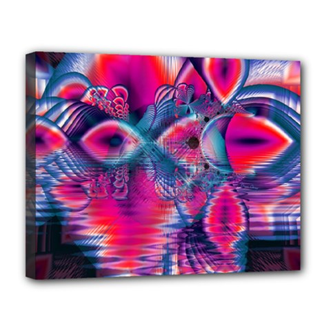 Cosmic Heart Of Fire, Abstract Crystal Palace Canvas 14  X 11  (framed) by DianeClancy