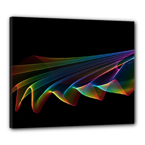 Flowing Fabric Of Rainbow Light, Abstract  Canvas 24  X 20  (framed) by DianeClancy