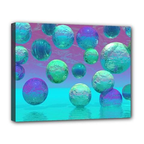 Ocean Dreams, Abstract Aqua Violet Ocean Fantasy Canvas 14  X 11  (framed) by DianeClancy