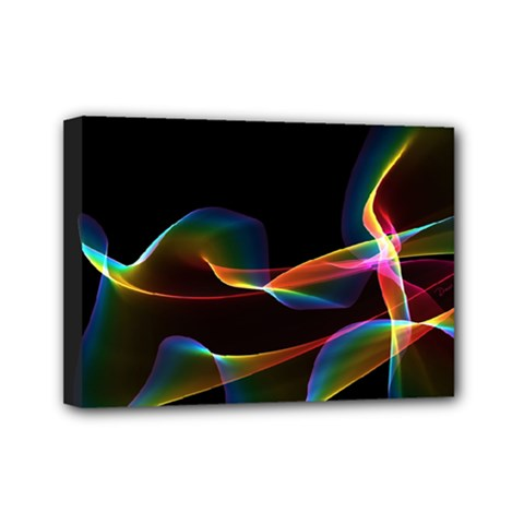 Fluted Cosmic Rafluted Cosmic Rainbow, Abstract Winds Mini Canvas 7  X 5  (framed) by DianeClancy