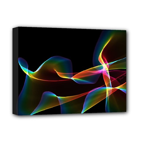Fluted Cosmic Rafluted Cosmic Rainbow, Abstract Winds Deluxe Canvas 16  X 12  (framed)  by DianeClancy
